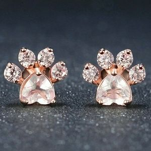 Rose Gold Pink Heart Paw Print Earrings